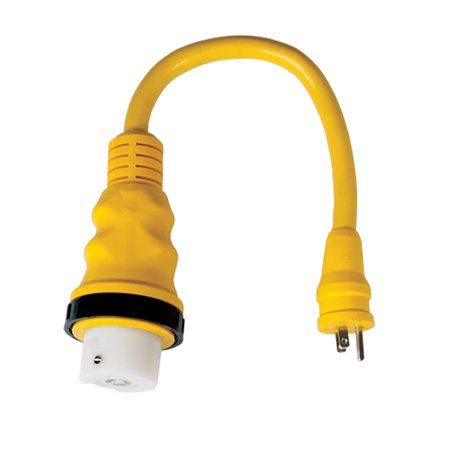 Marinco Female Connector (Marinco 150SPP LED Pigtail 50A 125/250V Female (Boat) to 15A 125 Male (Dock) Adapter )