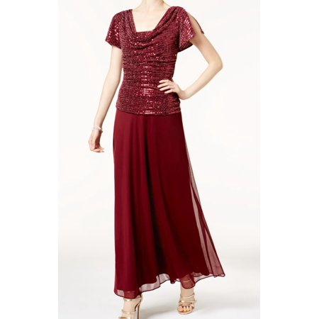 R&M RICHARDS Womens Burgundy Draped & Ruched Sparkle G Short Sleeve Scoop Neck Maxi Evening Dress  Size: (Draped Scoop)