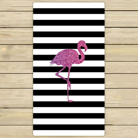 YKCG Glitter Pink Flamingo Black and White Stripes Hand Towel Beach Towels Bath Shower Towel Bath Wrap For Home Outdoor Travel Use 30x56 inches