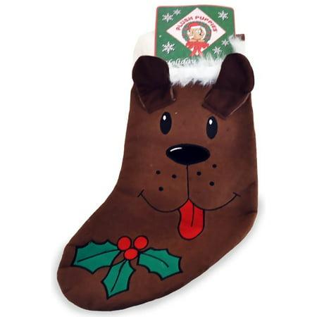 Kyjen Plush Puppies Holiday Stocking  Brown