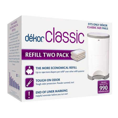 Dekor Classic Diaper Pail Refills | Most Economical Refill System | Quick & Easy to Replace | No Preset Bag Size  Use Only What You Need | Exclusive End-of-Liner