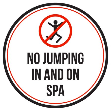 No Jumping In And On Spa Swimming Pool Warning Round Sign - 9 Inch