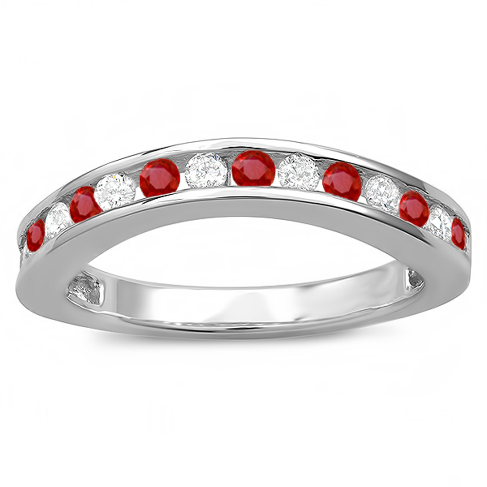 10K White Gold Round Ruby And White Diamond Ladies Curved Guard Matching Bridal Wedding Band