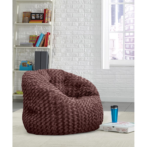 Cocoon Rosette Faux Fur Bean Bag Chair, Available In Multiple Colors