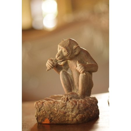 Laminated Poster Monkey Carving Statue Wood Craft Sculpture Poster Print 11 x 17](Monkey Crafts)