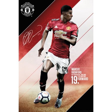 Manchester United - Soccer / Sports Poster (Marcus Rashford - Season 2017 / 2018) (Size: 24