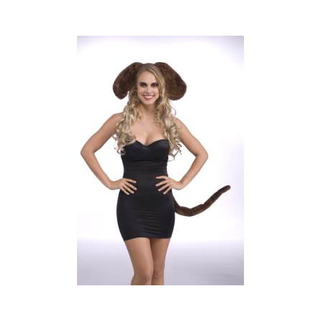 Adult's womens sexy brown dog droopy animal ears and tail costume accessory set M