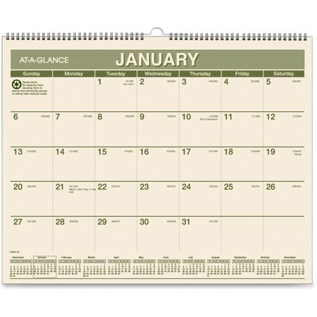 100% PCW Monthly Wall Calendar