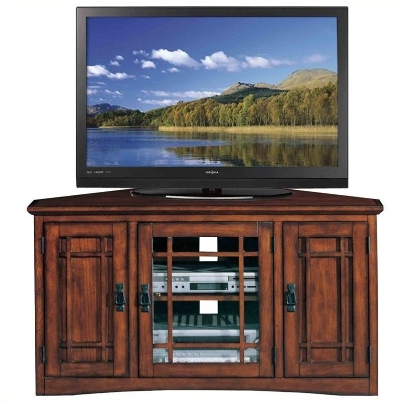 "Bowery Hill Mission 46"" Corner TV Stand with Storage in Oak"