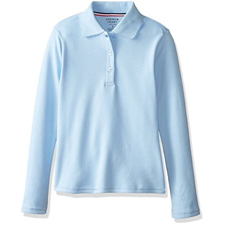 Blue 16 Pocket Square - French Toast Big Girls' Long Sleeve Interlock Polo with Picot Collar, Light Blue, 10