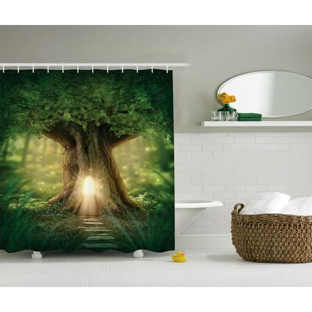 Rainshower Set (Fairy Tree of Life Light in Rainforest Scene Polyester Fabric Shower Curtain Set)