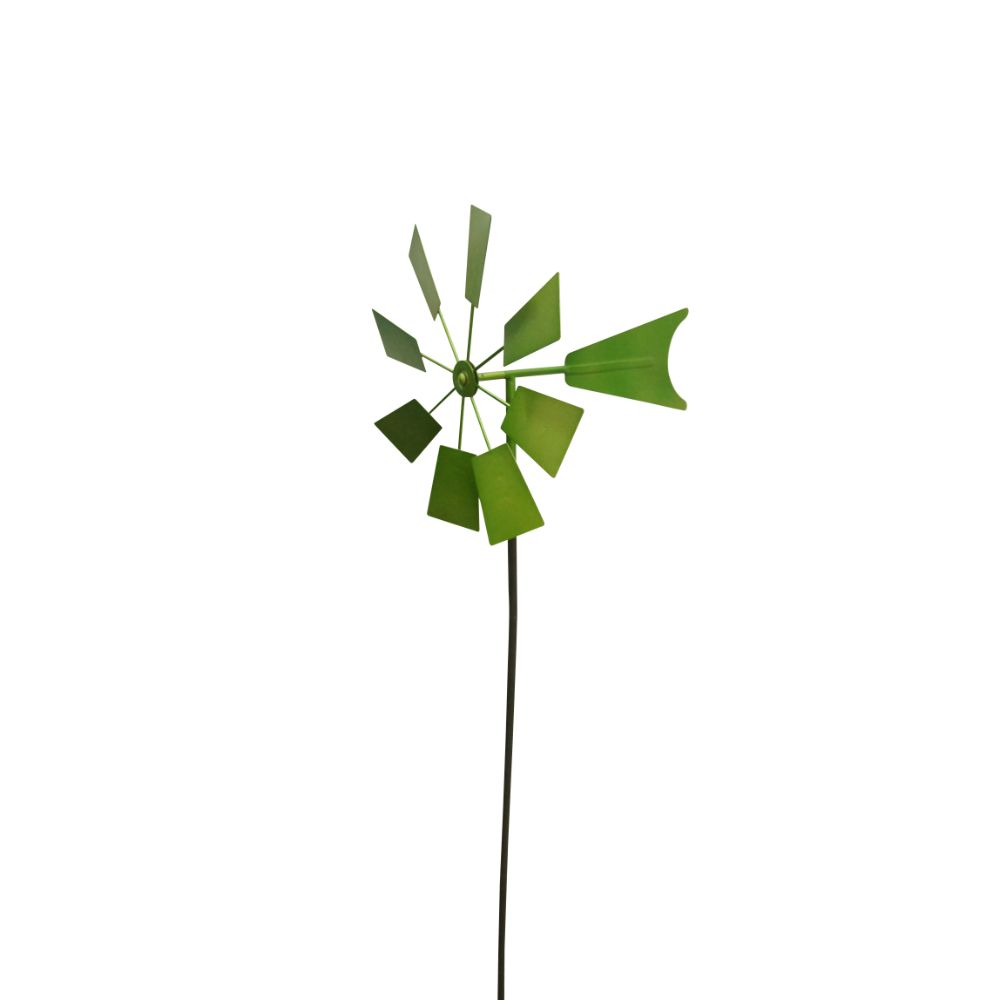 Alpine Green Metal Windmill Garden Stake, 52 Inch Tall