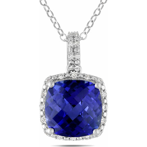 5-3/4 Carat T.G.W. Cushion-Cut Created Blue Sapphire and 1/10 Carat T.W. Diamond Sterling Silver Halo Pendant, 18""