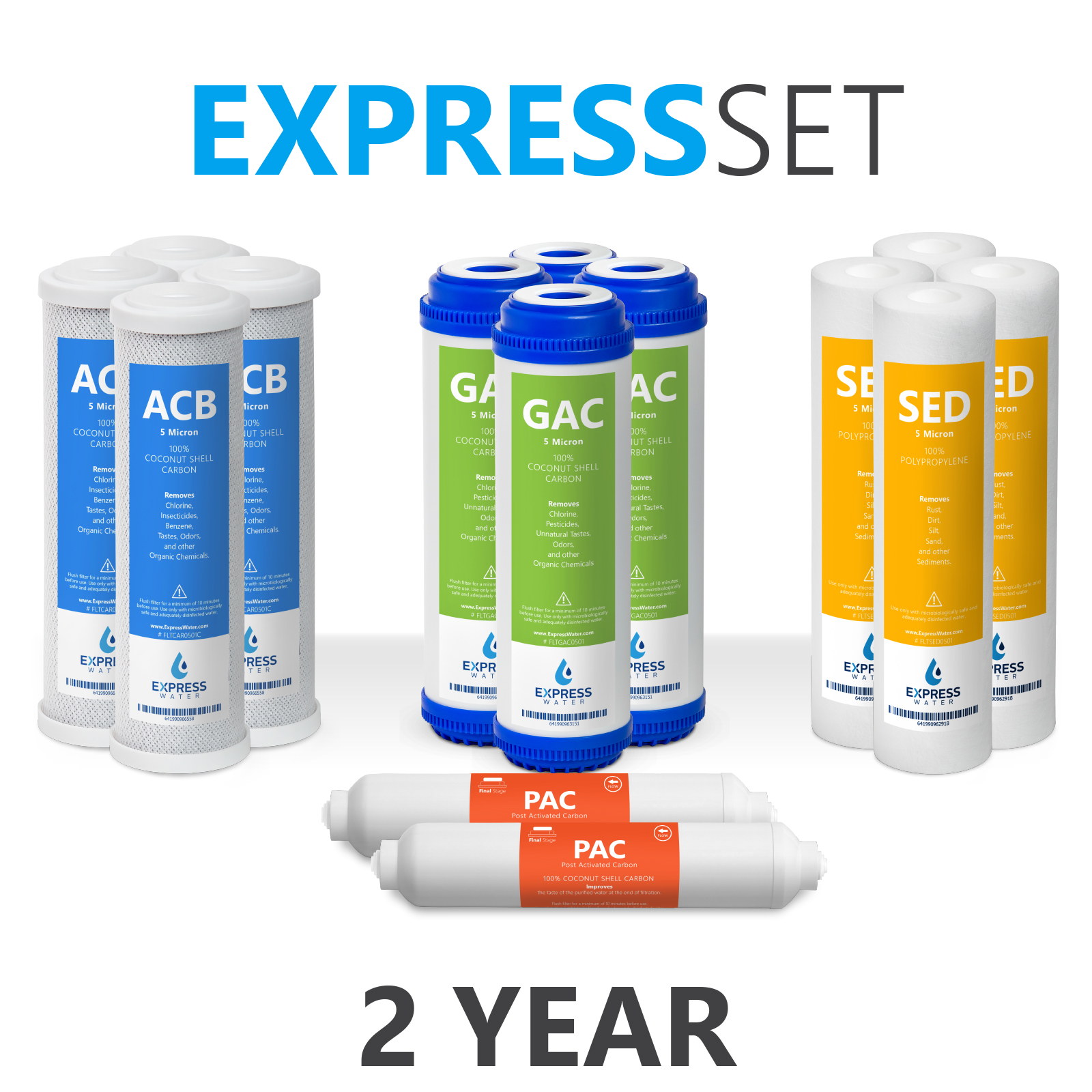 Express Water – Reverse Osmosis and Under Sink System Replacement Filter Set – 14 Filters with Carbon (GAC, ACB, PAC) Filters, Sediment (SED) Filters – 10 inch Standard Size Water Filters