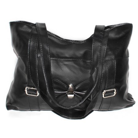 Black Double Handle Purse Handbag with Zipper (Double Zipper Purse)