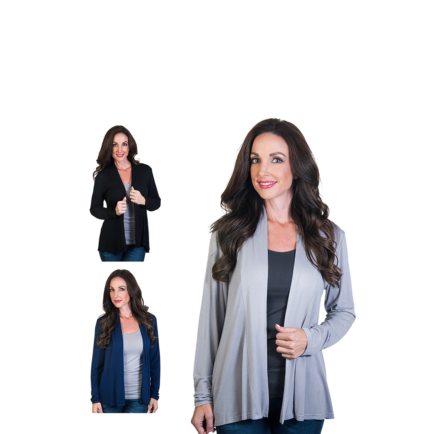 Agiato Women's Modern Long Sleeve Basic Cardigan 3-Pack