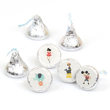 Carnival Circus - Cirque du Soiree - 108 Round Candy Labels Party Favors - Fits Hershey's Kisses - Circus Themed Favors