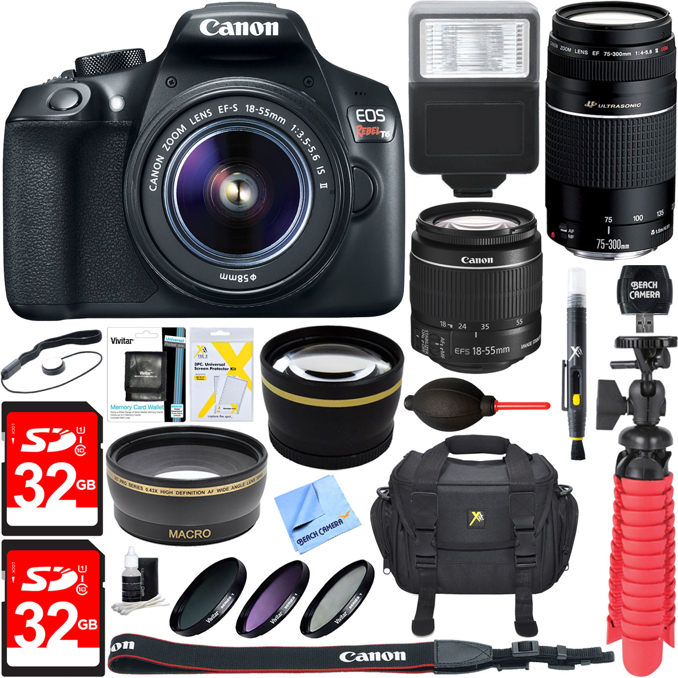 Canon EOS Rebel T6 Digital SLR Camera w/ EF-S 18-55mm IS + EF-S 75-300mm Lens Bundle includes Camera, Lenses, Bag, Filter Kit, Memory Cards, Tripod, Flash, Cleaning Kit, Beach Camera Cloth and More