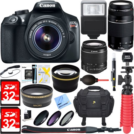 Canon Eos Rebel T6 Digital Slr Camera W  Ef S 18 55Mm Is   Ef S 75 300Mm Lens Bundle Includes Camera  Lenses  Bag  Filter Kit  Memory Cards  Tripod  Flash  Cleaning Kit  Beach Camera Cloth And More