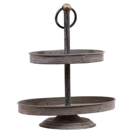 Metal Serveware - 3R Studios Decorative Metal 16 Inch 2 Tiered Server
