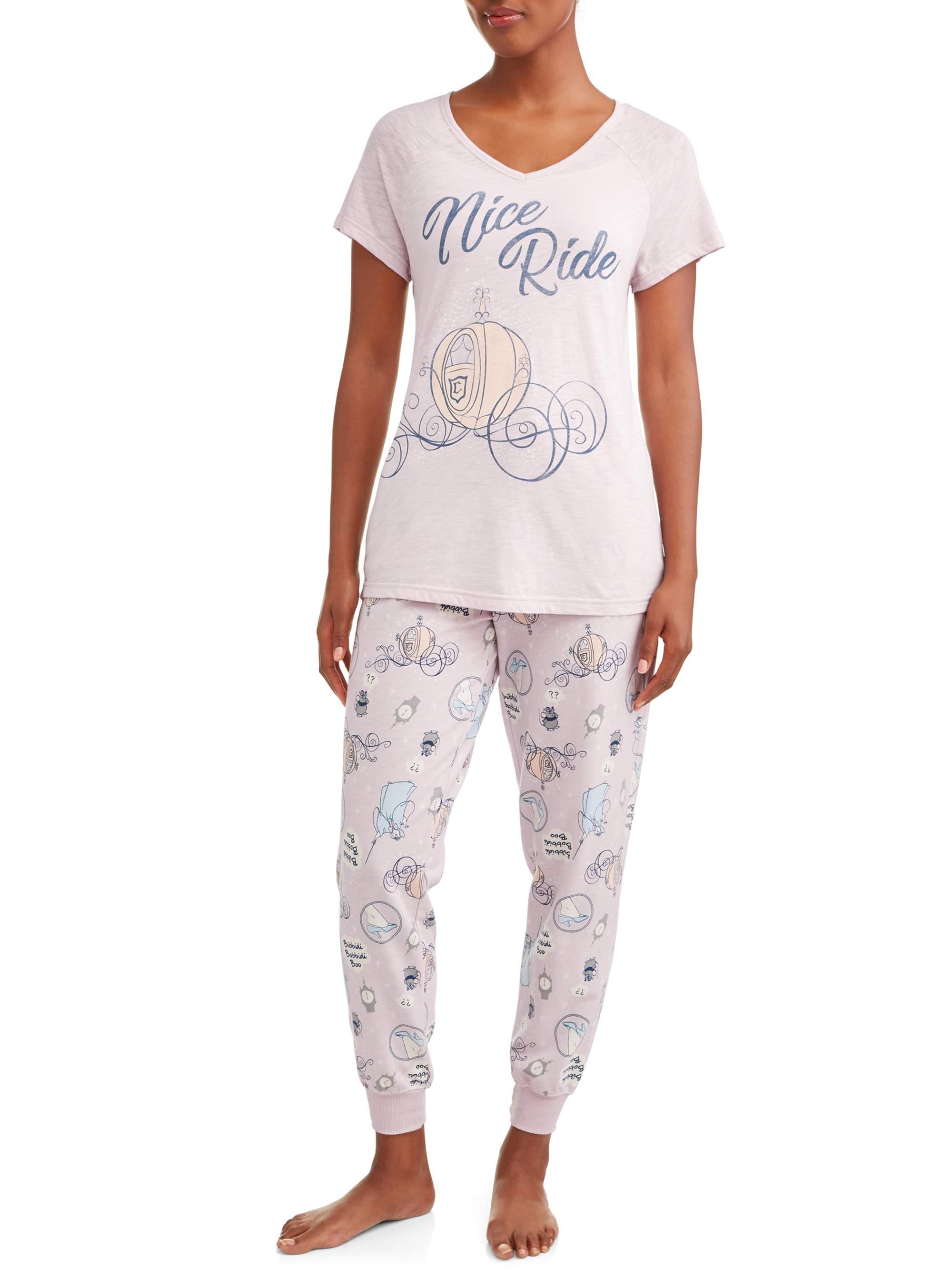 Women's and Women's Plus Cinderella T-shirt Pajama Pant Set
