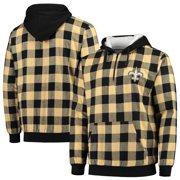 New Orleans Saints Large Check Sherpa Flannel Quarter-Zip Hoodie Jacket - Black/Gold