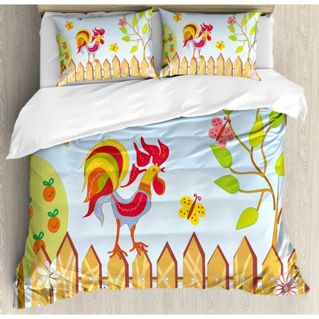 Ambesonne Farmhouse Border with Rooster Tree Butterfly and Flowers in Summer Kids Cartoon Print Duvet Cover Set