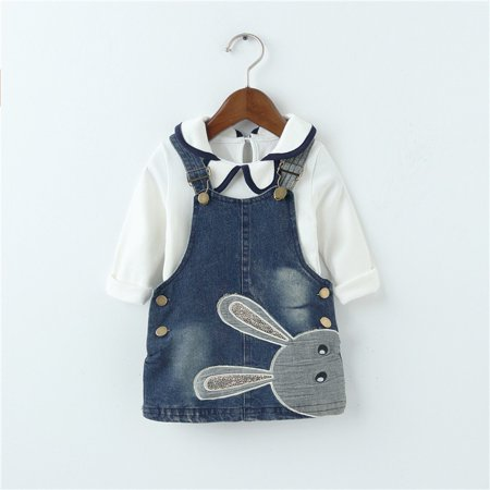 BOBORA Baby Girl Cute Rabbit Clothing Set Long Sleeve Dress Suit 2pcs