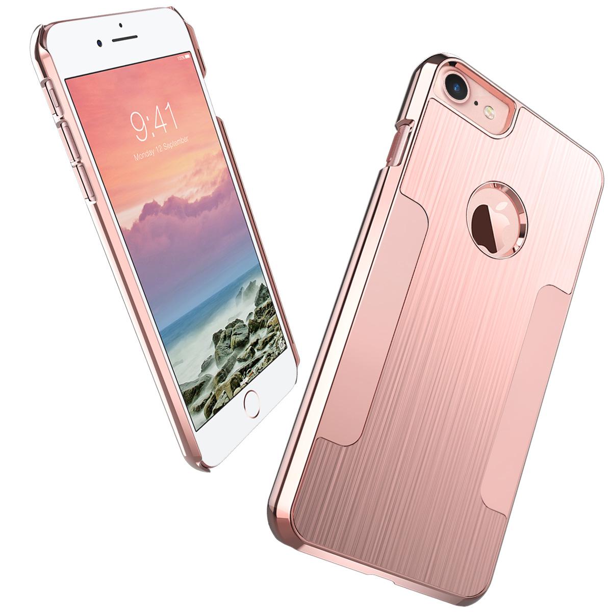 iPhone 7 Case, ULAK Slim Brushed Aluminum Chrome Coating Hard Case With PC Cover for iPhone 7 4.7 inch 2016
