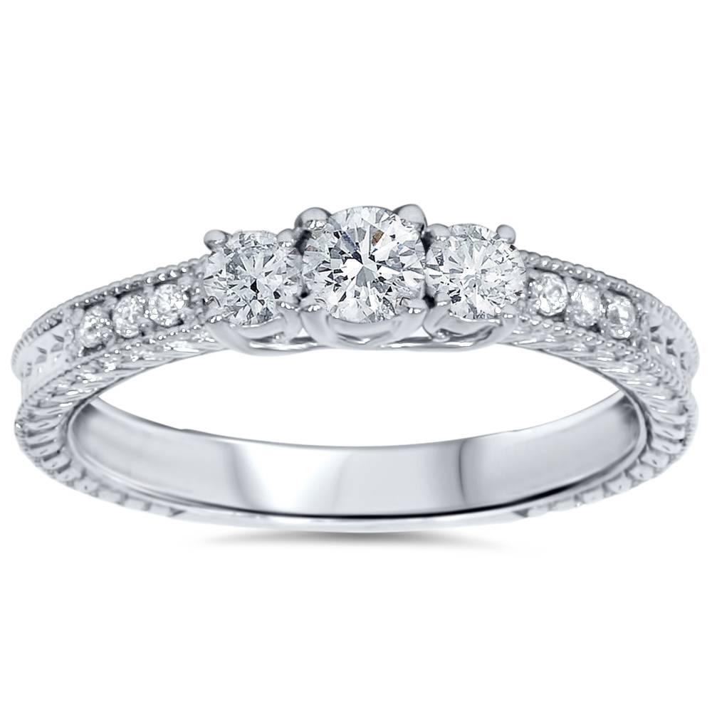 1/2ct Vintage Three Stone Round Diamond Engagement Ring 14K White Gold - image 3 of 3