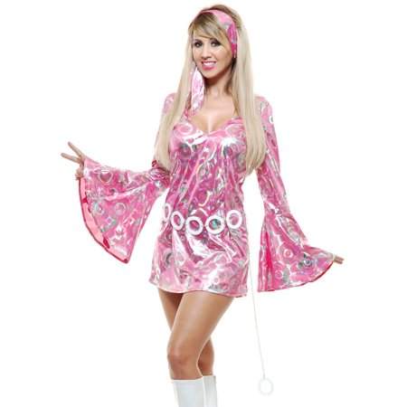 Womens  Pink Disco Queen Short Skirt Dress 70's Dance - Costumes For Short Women