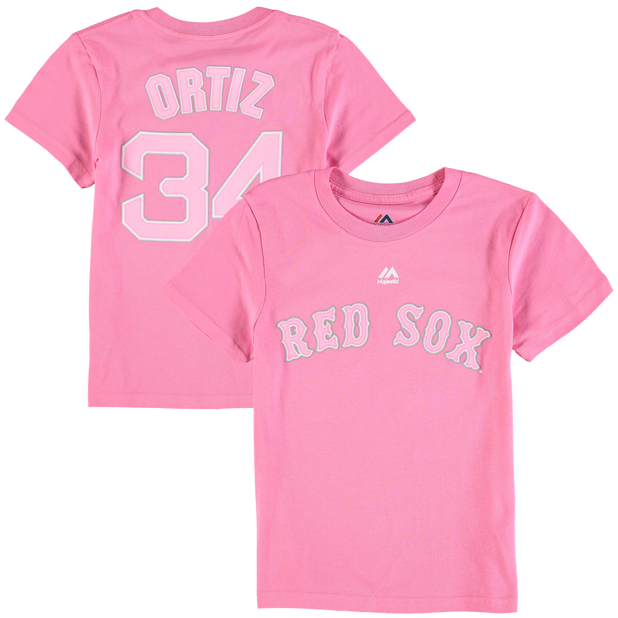David Ortiz Boston Red Sox Majestic Girls Youth Player Name & Number T-Shirt - Pink