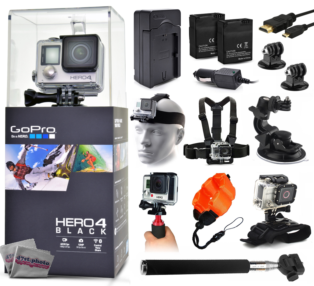 GoPro Hero 4 HERO4 Black CHDHX-401 with Travel Charger + 2 Battery + Travel Charger + Headstrap + Chest Harness Mount + Suction Cup + Handgrip + Floaty Strap + Wrist Glove + Selfie Stick + More GPH4BNEWK21