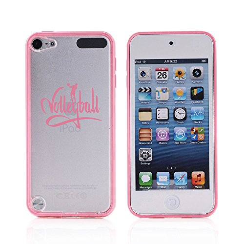 For Apple iPod Touch 5 5th Transparent Clear Hard TPU Case Cover Volleyball Calligraphy (Light Pink)