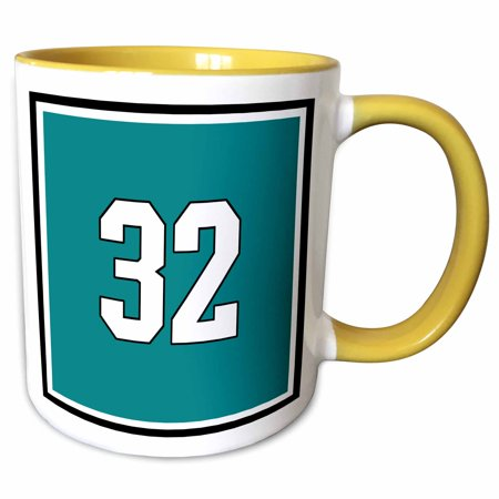 3dRose Number 32 in white trimmed in black on teal green background. Outer trim is white and black. - Two Tone Yellow Mug, 11-ounce