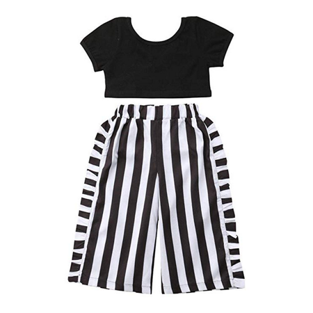 Infant Baby Little Girls Black T-Shirt+Stripe Ruffle Wide Leg Pant Clothes Set](Black Baby Girl)