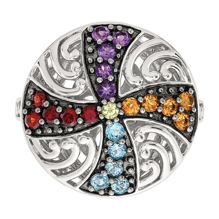 925 Sterling Silver Black Multi Gemstone Band Ring Size 6.00 Stone Fine Jewelry Gifts For Women For Her - image 6 of 10