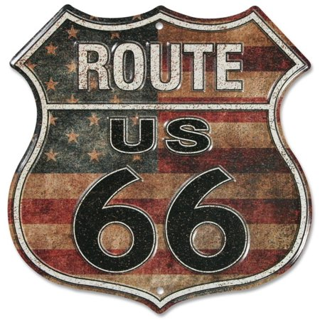 Stripes Tin (Route 66 Stars And Stripes Tin Sign - 11.5x11.5 )