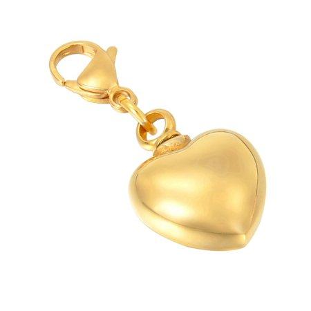 Golden Heart Cremation Jewelry Keepsake Memorial Urn Ash Holder Key Chain Clip - Golf Key Chains
