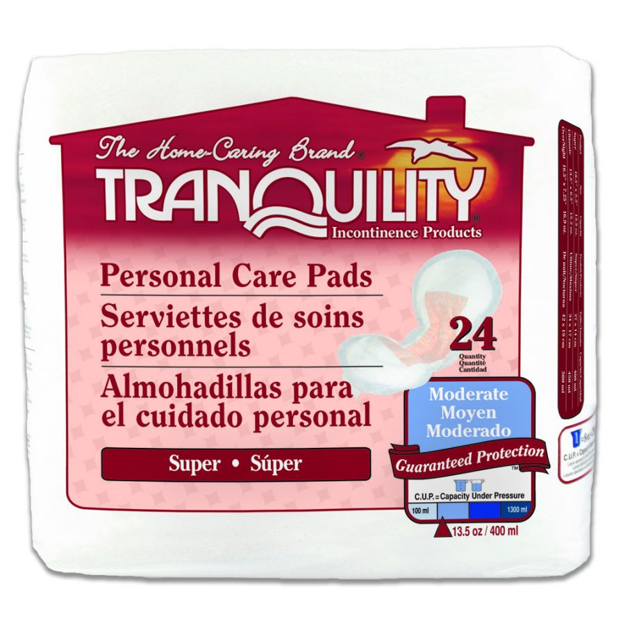 Bladder Control Pad Tranquility Light Absorbency Polymer Female Disposable 10.5 Inch Length, 2 Packs of 24
