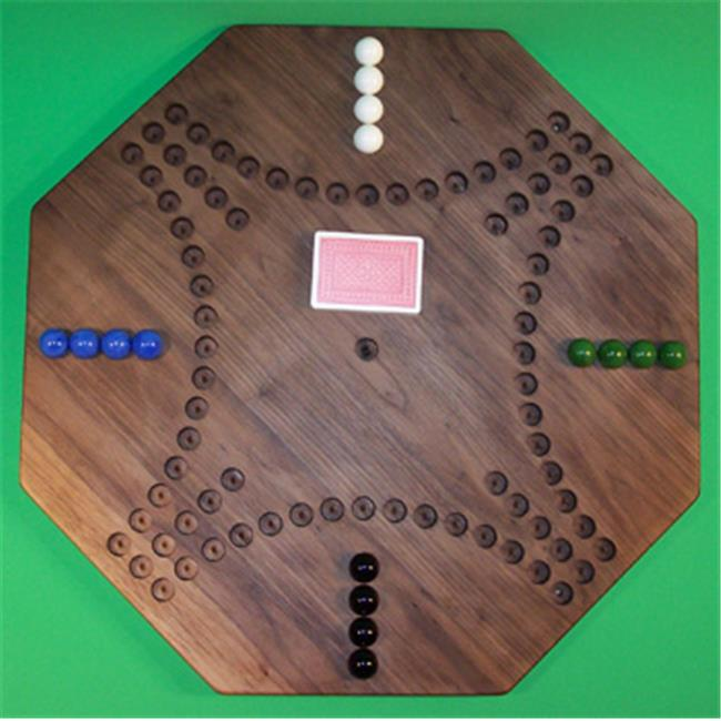 THE PUZZLE-MAN TOYS W-1952 Wooden Marble Game Board - Aggravation - New Style 22 in. Octagon - 4-Player  16-Hole - Black Walnut