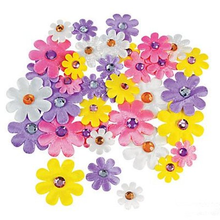 Pastel Fabric Self-Adhesive Daisies With Jewel Center - 36 - Center Daisy