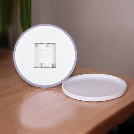 Homeholiday Round Plastic 6 LED Lamp Batteries Powered Touching Control Night Light Corridor Kitchen Light - image 2 de 8