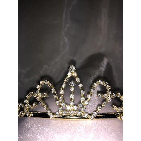 Charmed Gold Crown Rhinestone Tiara Sweet 15/16 Quinceanera Birthday/ Wedding