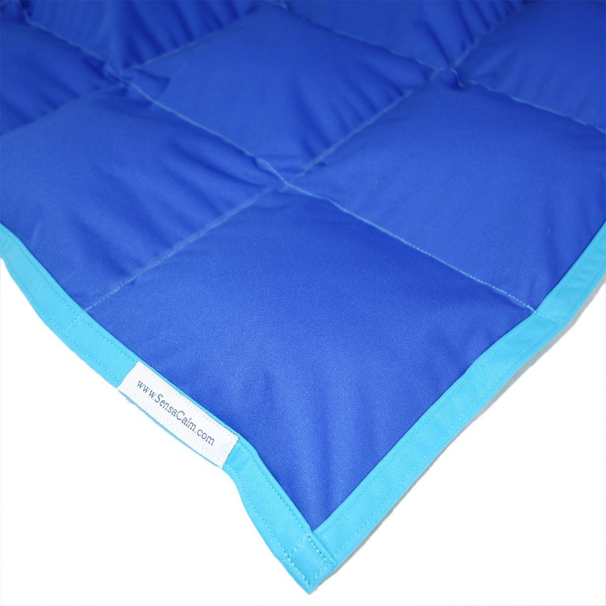 SensaCalm Royal Blue w/ Turquoise - Adult 18 lb Weighted Waterproof Blanket