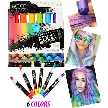 Hair Chalk Rainbow Edge Stick Blendable HAir Color With Scents, 6 Colorful Hair Chalk Pens Edge Chalkers. For Halloween, Party, Christmas, Fun Temporary Hair Chalk For Girls, Teens, Adults, or Cosplay