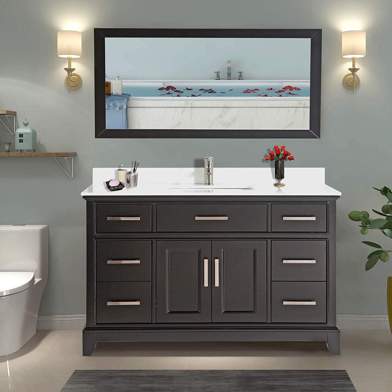 Vanity Art 60 Single Sink Bathroom Vanity Combo Set 7 Drawers 1 Shelf Super White Phoenix Stone Top Under Sink Cabinet With Mirror Va1060 E Walmart Com Walmart Com