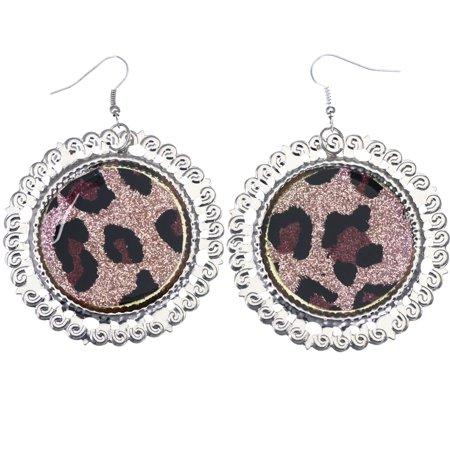Mi Amore Glitter Sparkle,Cheetah Print Dangle-Earrings Pink & Silver-Tone