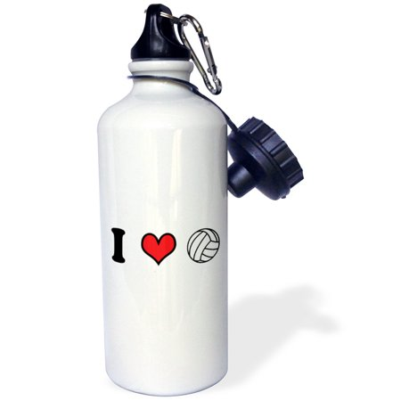 3dRose I love volleyball, Sports Water Bottle, 21oz