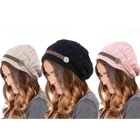 Top-Premium Women's Knitted Beanie Head Cap Leather Headwear Hats (3 Units, Beige Black Pink)
